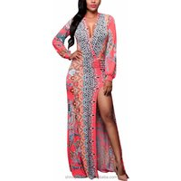 Women Sheath Bodycon Split Long Sleeve Dinner Evening Party Print Floral Sexy Hip Package Sexy Deep V Neck Dresses
