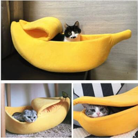 Banana Shape Pet Bed Cat House Warmer Soft Pet Bed Cotton Sleeping Bag for Dog Cat