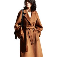 New Fashion Wholesale Cashmere Sheep Ladies Wool Coat with Belt Winter Long Handmade Oversized Women Cashmere Wool Coat