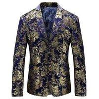 Golden Blue Color Mens Dress Floral Suit Notched Lapel Slim Fit SUIT