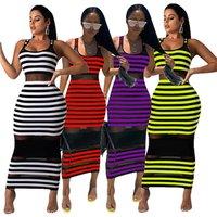 0622M0042  hot sale striped sleeveless casual maxi woman mesh sexy dress