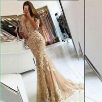 New styles cheap appliqued lace beaded Mermaid Plus size evening cocktail champagne/red half sleeve prom dress  MPA25