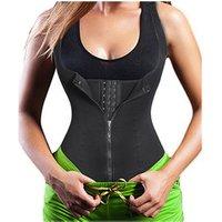 Women Waist Trainer Corset Zipper Vest Body Shaper Cincher Tank Top with Adjustable Straps