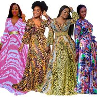 Ecoparty Boho Printed Chiffon Long Dresses Women V Neck Long Sleeve Belted Evening Party Loose Vintage Beach Summer Maxi Dress