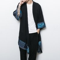New male loose shawl cardigan coat China style mens cotton linen trench jacket long kimono windbreaker coat