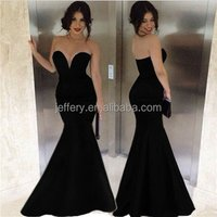 Elegant women deep v evening gown black off shoulder mermaid dress cocktail dresses A441