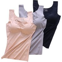 6000 Women One Piece Wireless Ice Silk Seamless Yoga Camisole Invisible Sleeveless Tank Tops Slimming Vest With Removable Pads