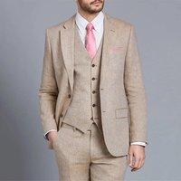 Mens Beige Linen Tailored Fit Italian Suits Set For Men 3 Pcs Blazer Trousers Vest Slim Fit Suits For Men
