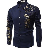 spring summer men long sleeve print casual dress shirts