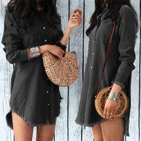 Women Casual Long Sleeve Turn-Down Collar Denim Shirt Dress