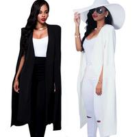Women Elegant Blazer Contrast Binding Open Front Cape Long Sleeve Blazer White Black Longline Plain Outer Y11129