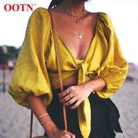 OOTN Female Tunic Blouse V neck 2020 Yellow Lantern Sleeve Shirts Summer Womens Tops And Blouses Sexy Crop Top Bow Knot Tied