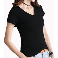 WomenS Ladies Stretch Athletic Fit Black Fitted Short Sleeve Promotion Cotton V Neck T Shirt