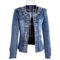 spring Autumn denim jackets vintage diamonds casual coat womens jeans jacket for outerwear female 4xl Y11345