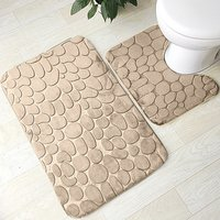 Bathroom Rug Mat Set 2 Piece Includes Mat Contoured for Toilet and Carpet Rugs, Machine Wash/Dry, Absorbent Memory Foam Bath Rug