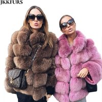 2019 Customized Women Winter Genuine Real Fox Fur Coat Five Rows Warm Outwear With Collar