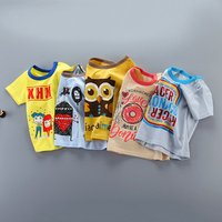 Short Sleeve Cartoon Printed Baby T Shirt Unisex Soft Summer Baby Clothing Baby T-shirt Woven 100% cotton