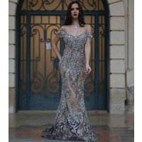ZH1225X 2019 Luxury Dubai Evening Dresses Mermaid Off the Shoulder Illusion Back Major Beading Gray Formal Long Prom Ball Gown