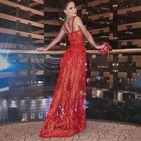 Red Lace embroidery floral Evening Dresses see through hollow out sexy Elegant Women Formal Dresses Long evening party Gown