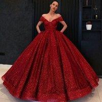 Burgundy Prom Dresses Ball Gown Glitter Sequin V Neck Open Back Girls Sweet 16 Dresses Long Evening Party Wear