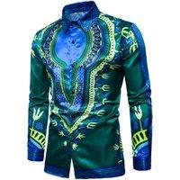 A3834 Mens African Prints Vintage Button Down Dashiki Dress Shirt Blouse Tops