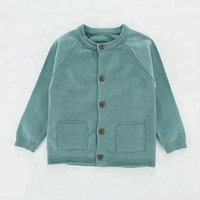 2018 Long Sleeve Soft Cotton Plain Knit Sweater Design for Kids Baby Cardigan