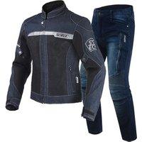 SSPEC Mens Moto Gear Suit Protection Riding Suits Jackets and Pants Denim Motorcycle Jacket Reflective 9 PCS Protector Pads S~XXXL