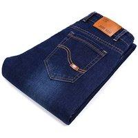 Mens Jeans Classic Direct Stretch Dark Blue Business Casual Denim Pants Slim Scratched Long Trousers Gentleman Cowboys 38