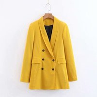 Yellow color long sleeve fashion blazer for women ladies spring workwear