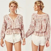 Summer Long Sleeve With V Neck Casual Blouse Women Bohemian Clothing