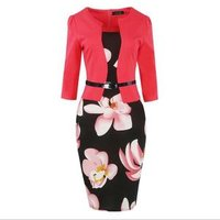 Two Piece Belt Office Dress Patchwork Floral Print Elegant Business Party Formal Bodycon Pencil Work Dresses A312