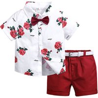 Summer flower shirt shorts toddler baby boy clothing sets kids clothes