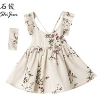 ShiJun Wholesale Clothing 100% Linen Backless Peach Blossom 3 Year Old Girls Dress