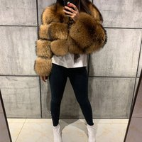 Womens full pelt winter thick short real raccoon fur coat ladies long sleeve natural fur jacket