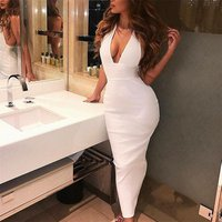 Halter Backless Sexy Knitted Pencil Dress Women White Off Shoulder Long Bodycon Party Dress Elegant Summer Dress 2019