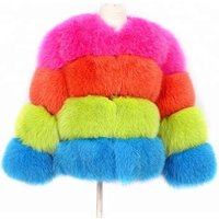 Winter New fashion warmer colorful genuine fox real Kids Fur Coat