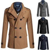 walson  YF299 m-4x Mens  Long Coat Autumn Winter Double-breasted Windproof Slim Trench Coat