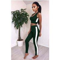 Hot Sale Womens Basic Two Piece Slim Fit Legging Sport Vest Suit