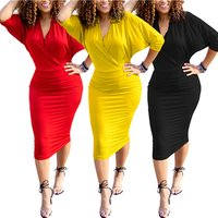 Elegant Fashion Casual Clothing Batwing Sleeve Women Summer Dress