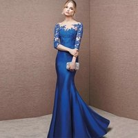 2019 Mermaid Satin Prom Dresses Evening Dresses Lace long Shoulder Dress Silky Blue Women Formal Part Gown Red Night Gown
