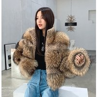 Womens Short Jacket, Raccoon Fur Coat Chic Jacket, Luxury Outerwear Tops Big Fur Winter Coat for Party Club Cocktail