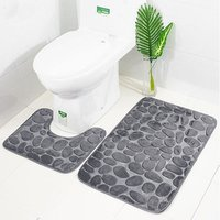 Bath Rug Set 2 Piece Bathroom Contour Rug Toilet Mat Sets Non Slip Microfiber Bath Shower Mat U-Shaped Toilet Rug Combo Set