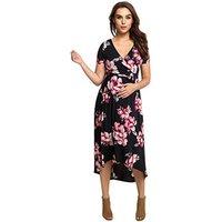 P264 Wholesale 2019 summer v neck floral maternity dress black short sleeves maternity wear dress