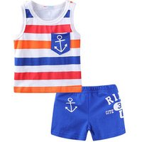 Mudkingdom boys and girls denim summer casual suit with wide striped vest and beach shorts clothing set