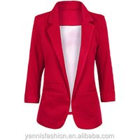 Fashion Spring Autumn Blazer Candy Color Notched Three Quarter Sleeve Female Suit Small Suit Commuter OL Casual Coat