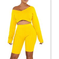 Wholesale boutique womens fashion two piece set matching clothing set off shoulder crop top and shorts