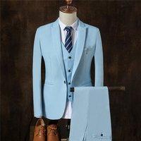 Korean style 3 pieces coat pant men wedding suit 2018 in stock mens formal business blazer