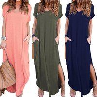 Ecowalson Hot Womens Casual Loose Pocket Long Dress Short Sleeve Split Maxi Dress
