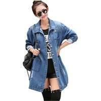 YSMARKET S-5XL Boyfriend Style Plus Size Denim Coats Outwear Long Fashion Blue Jeans Tops Button Jacket Women Long Sleeve E08007