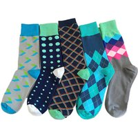 Wholesale Fashion Happy Socks Custom Colorful Cotton Crew Men Dress Bamboo Socks